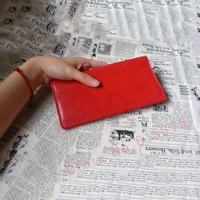 [Handmade Custom] imported handmade sheep skin Long Wallet / long clip red orange money clip