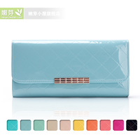 2013 wallet women japanned leather plaid long design women's fashion wallet