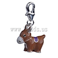 Free shipping!!!Zinc Alloy Lobster Clasp Charm,Lucky, Horse, enamel, deep coffee color, nickel, lead & cadmium free