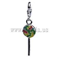 Free shipping!!!Zinc Alloy Lobster Clasp Charm,Love, Animal, enamel, multi-colored, nickel, lead & cadmium free, 43x10x3mm