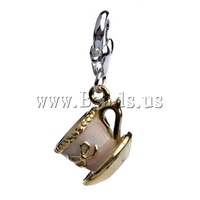 Free shipping!!!Zinc Alloy Lobster Clasp Charm,Cute Jewelry, Cup, enamel, nickel, lead & cadmium free, 30.50x12mm