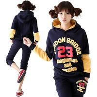 2014 spring winter letter 23 decoration color block casual sweatshirt sportswear set Women