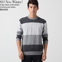 2013 men's clothing spring o-neck slim stripe sweater b0378