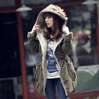 2014 thickening wadded jacket slim cotton-padded jacket female medium-long