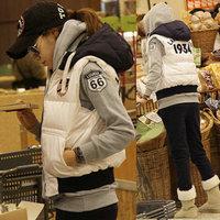 Fashion vest female plus size thickening vest with hood down vest design cotton short outerwear