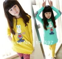 Autumn new arrival 2013 children's clothing female child cartoon rabbit child long design t-shirt big boy basic shirt top