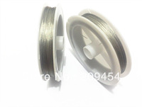Wholesale ! 0.45MM Thickness Silver 2Rolls/lot   Stainless Steel Tiger Tail Wire For Chunky Necklace (1roll about 80M )