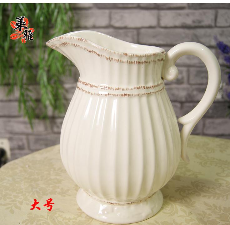 Flower pot ceramic embossed vase living room decoration fashion milk pot vase big Small(China (Mainland))