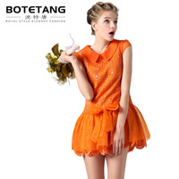 BOTETANG orange slim peter pan collar silk one-piece dress noble elegant ol one-piece dress