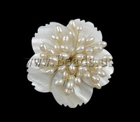 Free shipping!!!Freshwater Pearl Brooch,2013 new fashion girl, Cultured Freshwater Pearl, with Shell, Flower, white, 57x13mm