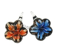 Free shipping!!!Inner Flower Lampwork Pendants,Diy, 34x31x11mm, Hole:Approx 7mm, 12PC/Box, Sold By Box