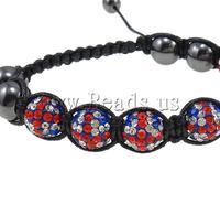 Free shipping!!!Rhinestone Shamballa Bracelets,Whole sale, Clay, with Wax Cord & Non-magnetic Hematite, handmade
