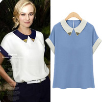 Good quality 2013 New SummerChiffon Short Sleeve Paillette Collar Turn-down Collar Patchwork T-shirt Shirt Blouse in Stock