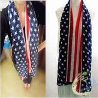 Spring and summer female american flag design long silk scarf cape scarf dual-use large beach facecloth autumn and winter female