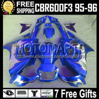 NEW Blue 7gifts+Tank 100%  For HONDA CBR600F3 Silver flames CBR 600F3 CBR600 F3 95 96 70Q1731 FS CBR 600 F3 1995 1996 Fairing
