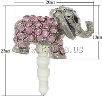 Free shipping!!!Earphone Jack Dust Cap Plugs,Trendy, Zinc Alloy, with Plastic, Elephant, platinum color plated