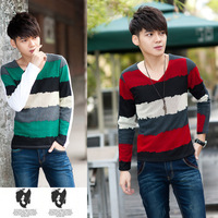 autumn winter mens long sleeve shirt strip design v neck mens casual cotton shirt 100% cotton made free shipping green red blue
