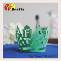 Merry Christmas party decor filigree Indian Laser cut cupcake wrapper Christmas tree cupcake wrappers