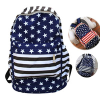 13 stripe canvas backpack casual school bag backpack