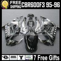 7gifts+Tank  For HONDA 95-96 CBR600F3 CBR 600F3 Sevenstars 95 96 CBR600 F3 Black Silver HOT FS CBR 600 F3 1995 1996 Fairings