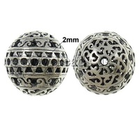 Free shipping!!!Zinc Alloy Beads Setting,ethnic, Round, antique silver color plated, hollow, nickel, lead & cadmium free, 24mm