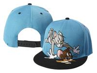 Freeshipping Cheap 2013 Tom and Jerry Cartoon Snapback hats,Blue Men's Adjustable Snapbacks Sports Hat High Quality Baseball Cap