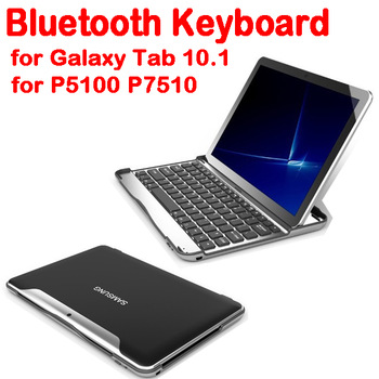 by dhl or ems 10 pieces Free shipping Aluminium Wireless Bluetooth Keyboard for Samsung Galaxy Tab 2 10.1 P7500/P7510 tablet pc