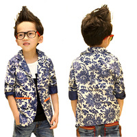 5pcs/lot, new 2013 autumn -summer blue and white porcelain kids clothing children coat boy outerwear children's jacket,  QY-3010
