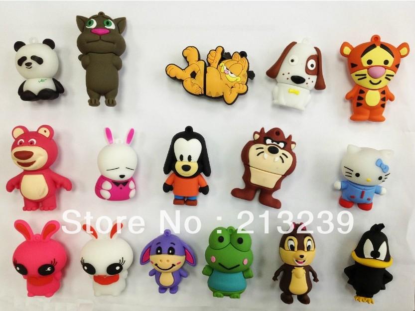 Wholesales!New Cartoon Enough Cheap Mixed USB Models usb 2.0 memory flash stick pen thumbdrive/disk/car/gift(China (Mainland))