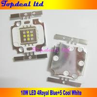10pcsx 10W  Actinic Hybrid Blue LED Square 5x Cool White 10000K+4x Royal Blue 450nm-455nm High Power LED Light Bulb chip