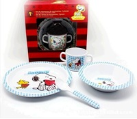 Hot sale  5A The quality of Senior fangci melamine material High quality Snoopy  children tableware covered 4 times