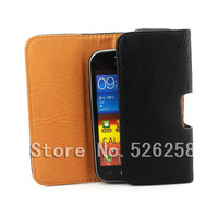 Luxury Black New Leather Lichee Pattern Case Belt Clip Pouch for Samsung Galaxy Ace 2 II i8160 Free shipping 02