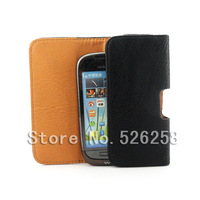 Luxury Black New Leather Lichee Pattern Case Belt Clip Pouch for Nokia c7 Free shipping 02