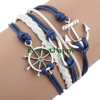 5pcs Antique Silver Vintage Sideway Alloy Ship Anchor Infinity Braided Leather Bracelet Charm Wristbands Jewelry SET