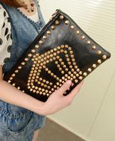 2013 women's handbag bag fashion vintage rivet envelope day clutch bag briefcase shoulder bag