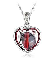 Hawaii Holidays Classic Vintage Love Heart Valentine necklaces 925 Silver Garnet Necklace For Valentines Gift SK049