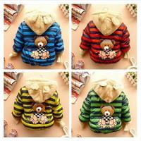 NEW!wholesale children's coat 3pcs/1lot boy clothing 100% cotton striped fashion children's winter outerwear bear 4 colors