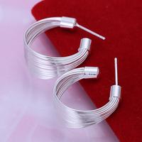 Free shipping lowest price wholesale for women's 925 silver earrings 925 silver fashion jewelry multi-line hoop Earrings SE005