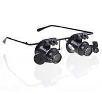 Jeweler Watch Repair 20x Glass Eye Loupe Magnifier Magnifying LED Light Two Eye