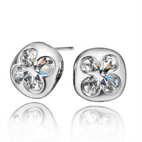 Free shipping 18K E289 Factory price wholesale!Plated 18K white gold rhinestone crystal earrings fashion gift jewelr