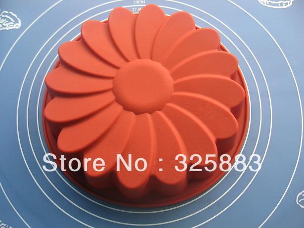 1pcs Great Circle Flower Green Good Quality 100% Food Grade Silicone Cake/Pizza Baking Pan DIY mold(China (Mainland))