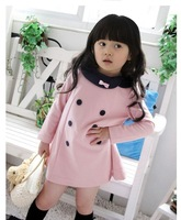 Children's clothing retail 2013 new Spring and Autumn girls double-breasted dress children princess bow dress free shipping