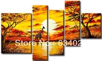 hand-painted art African sunrise Giraffe landscape oil-paintings on canvas 5 panel canvas art set abstract tree art