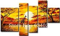 hand-painted art African sunrise Giraffe landscape oil-paintings on canvas 5 panel canvas art set abstract tree art