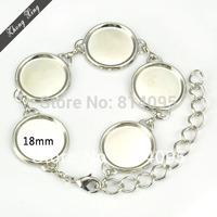 18mm Silver tone Round Bezel Trays Buckle Link Chain Bracelets Settings Blank