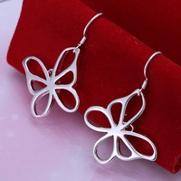 Factory price top quaility 925 sterling silver jewelry earring fashion butterfly drop earrings free shipping SMTE011
