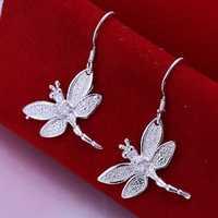 Free Shipping 925 Sterling Silver Earring Fine Fashion Zircon Dragonfly Earring Silver Jewelry Earrings SMTE009