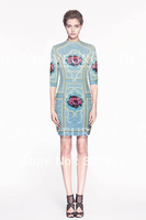 2014 New arrive women's autumn fashion beading rose embroidery half-sleeve slim designer denim dress new fashion 2014 fall