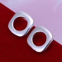Factory price top quaility 925 sterling silver jewelry earring fashion square stud earrings free shipping SMTE016