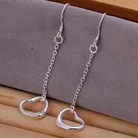 Free shipping 925 sterling silver jewelry earring fine cute heart pendant drop earring wholesale and retail SMTE086